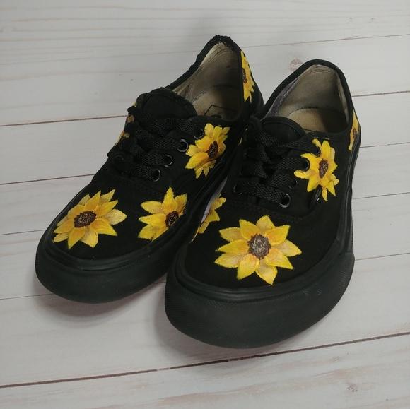 Summer Sunflower Black Vans   Poshmark
